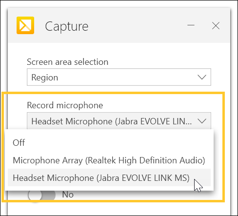 Select audio for TechSmith Capture