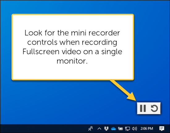 Mini controls when recording full screen