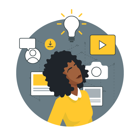 customer education icon with woman