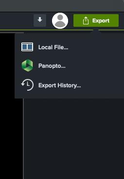 Panopto export option displayed in the Camtasia Share menu.
