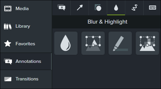 Blur and Highlight menu in Camtasia