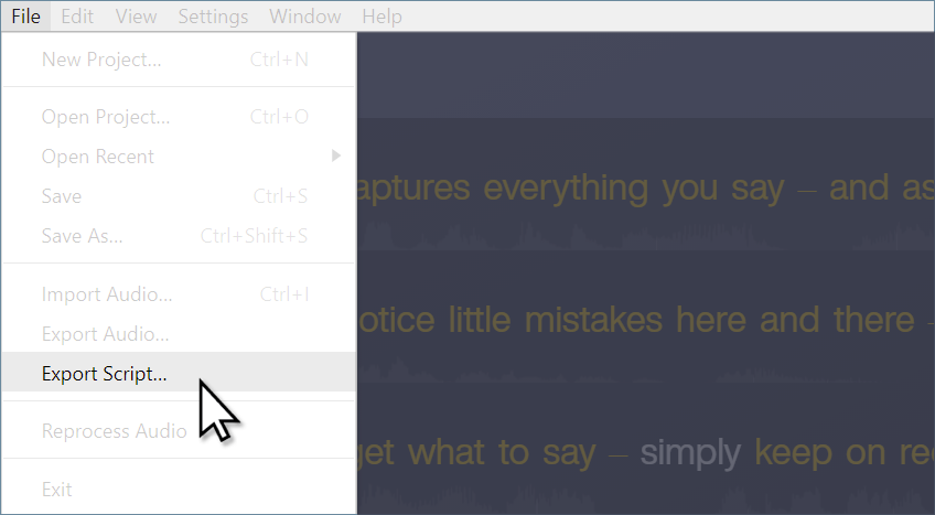 Cursor hovering on the Export Script option in Audiate File menu.