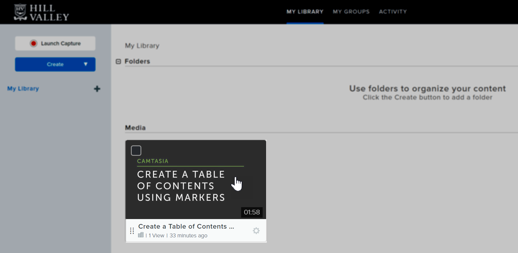 Select a video from the My Library page