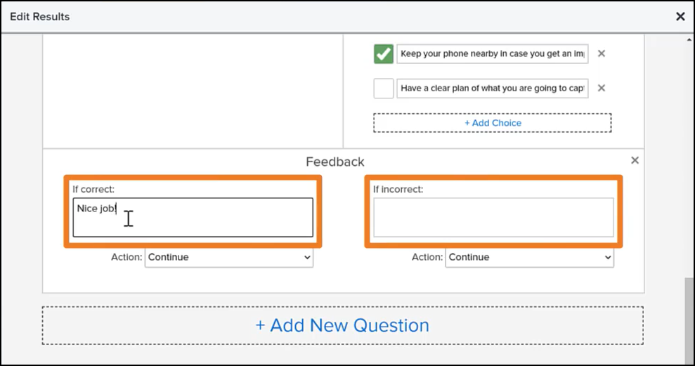 Feedback dialogue boxes based on answers
