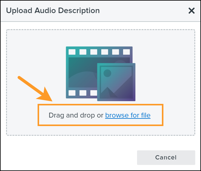 Upload audio description dialogue box