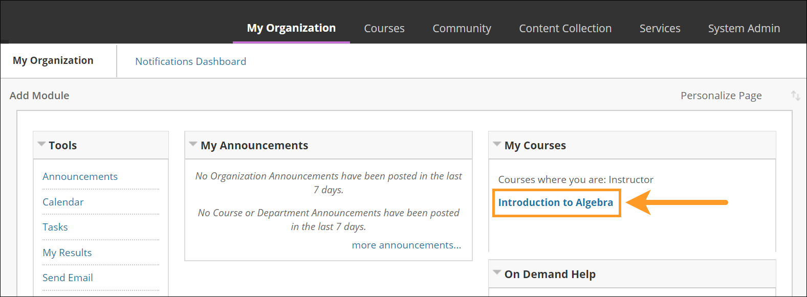 Select course in the My Organization menu