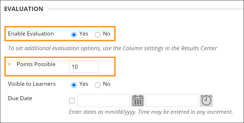 Enable evaluation option in the evaluation menu