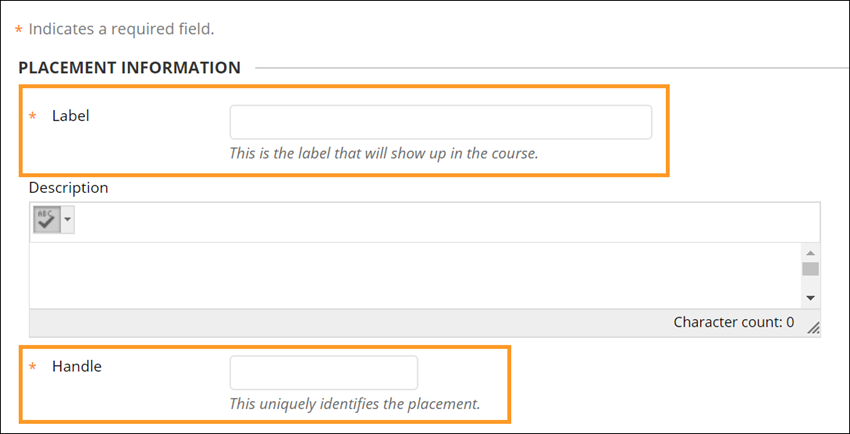 Label and Handle fields in placement information dialogue