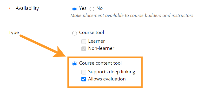 Course content tool dialogue