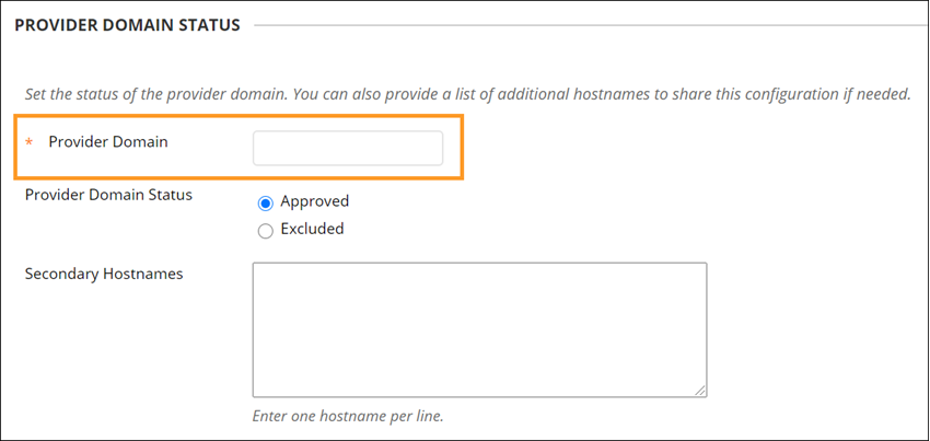 Provider domain field