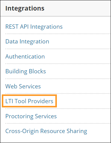 LTI tool providers option in integrations section