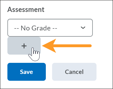 Add new grade button on assessment dialogue