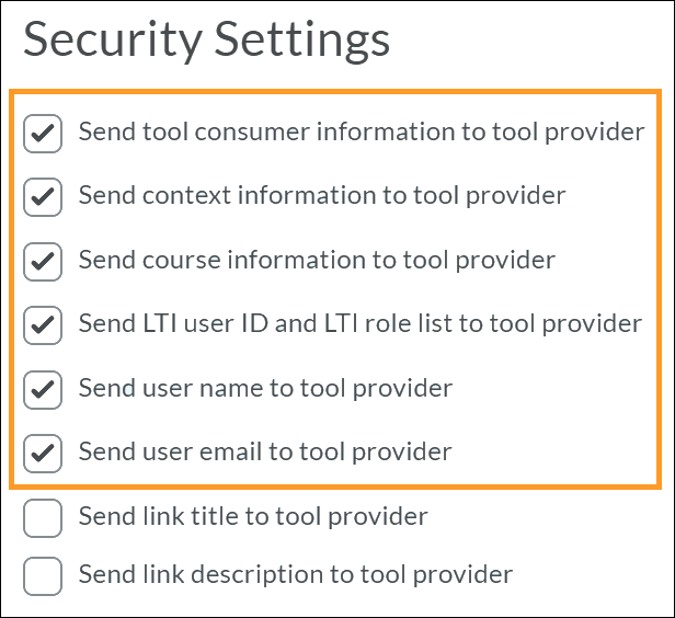 Security settings menu