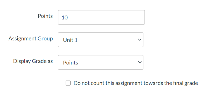 Set the number of points possible