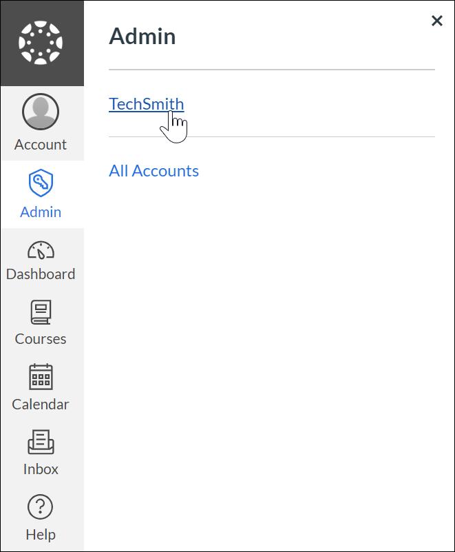 Techsmith account in admin tab