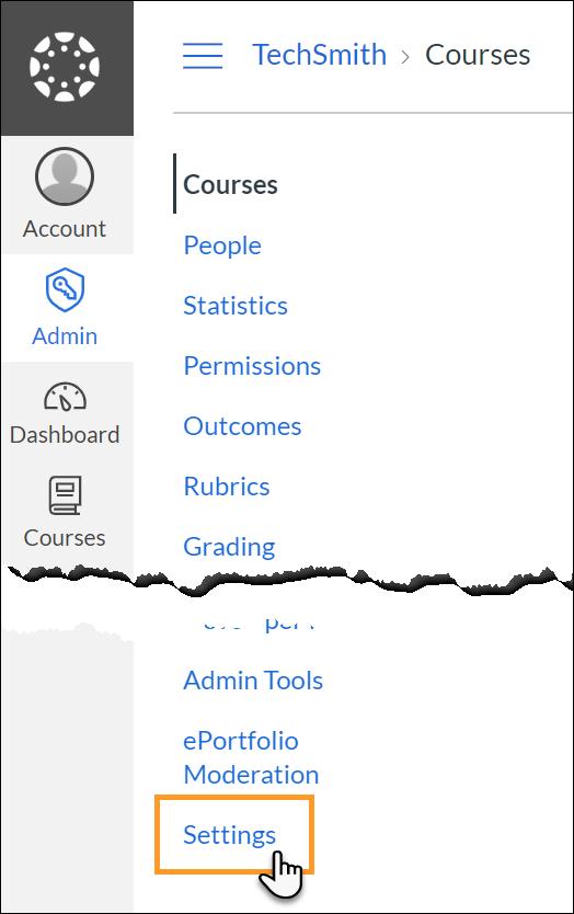 Settings link in admin menu