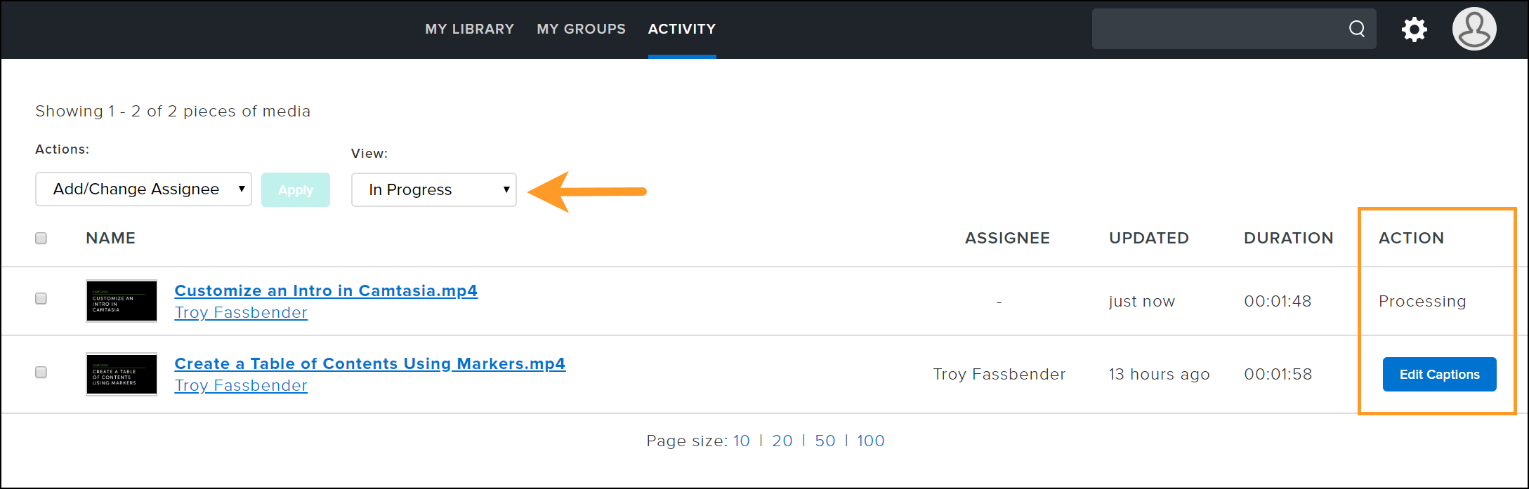 In progress view for activity tab