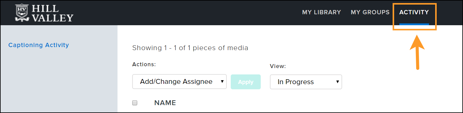 Activity tab in Knowmia