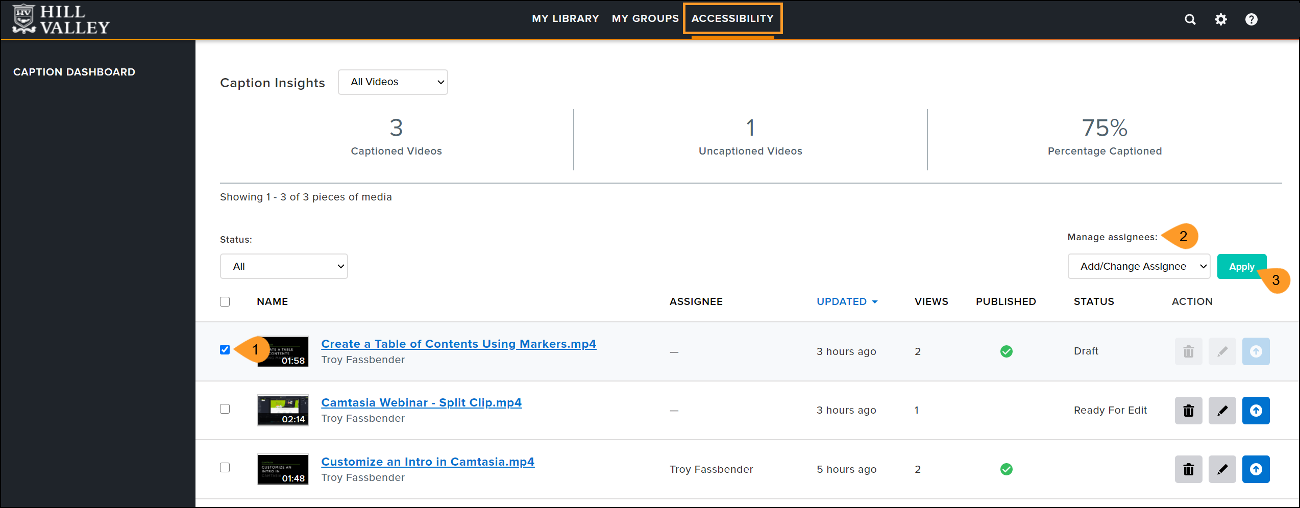Add or change assignee option in the actions menu