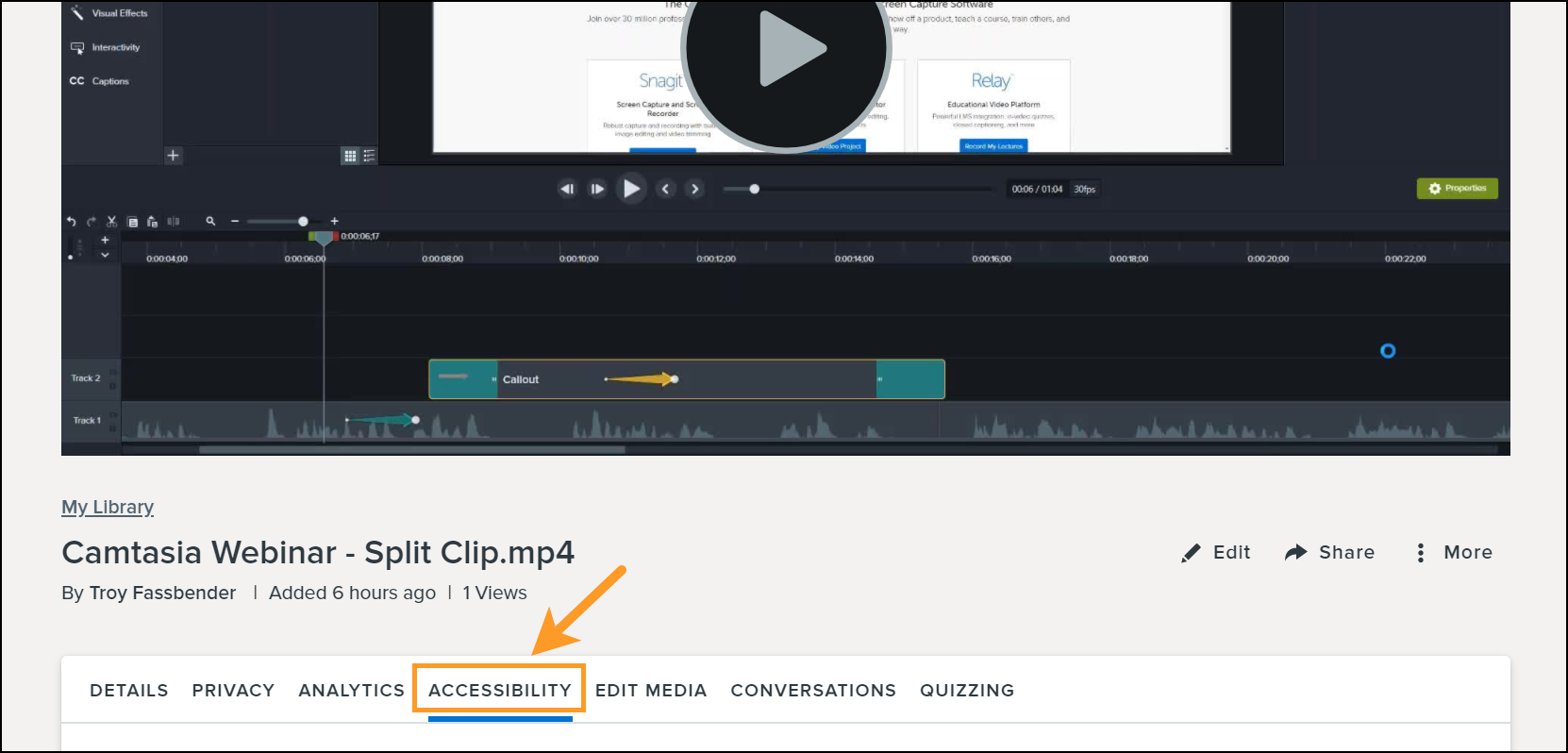 Accessibility tab on knowmia view page