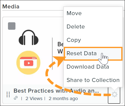 Reset data from the context menu