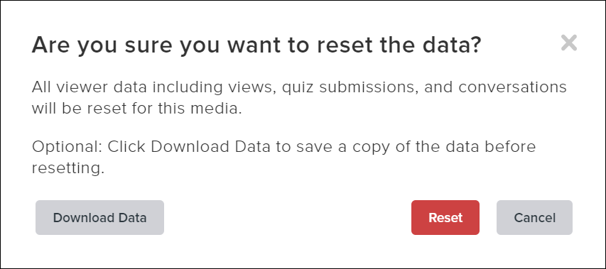 Are you sure you want to reset the data