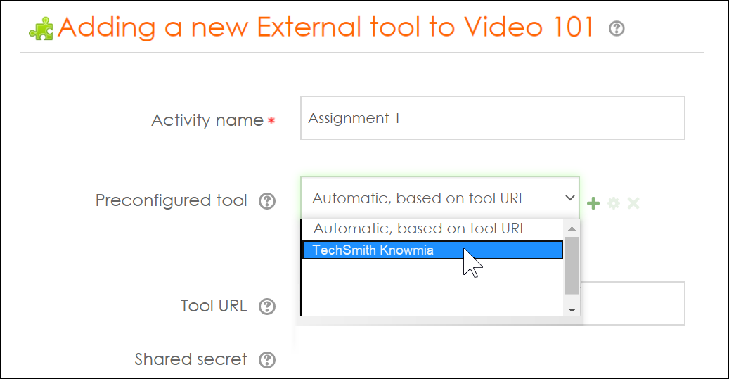 Choose Knowmia as the external tool type