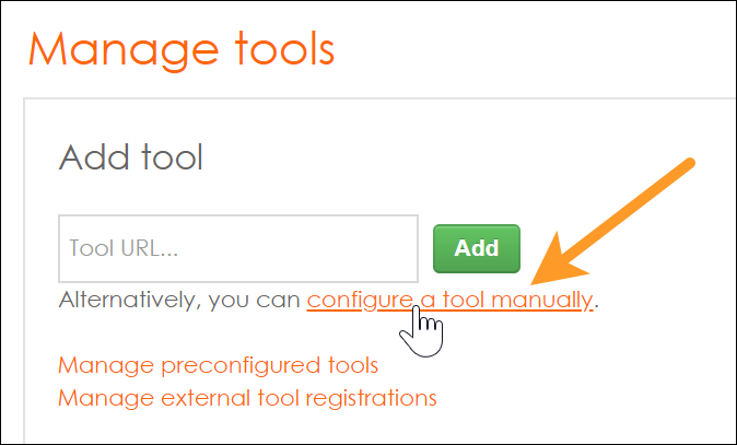 "Screenshot of the Moodle Manage tools panel with ""configure a tool manually"" highlighted"