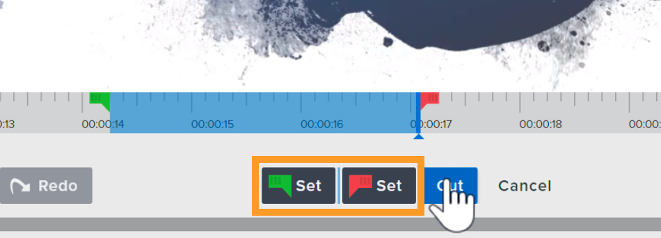 Use the green and red set buttons to select a section of the video