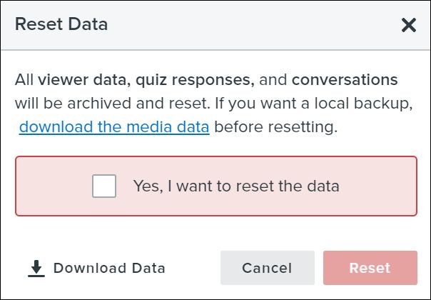Reset data confirmation dialog window