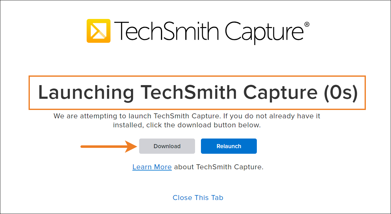 TechSmith Capture launch window