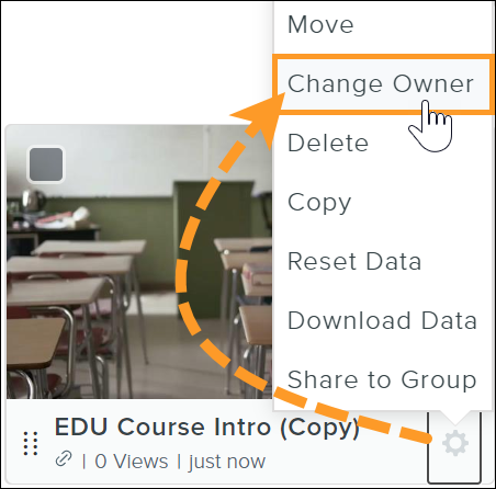 Knowmia Enterprise settings with the cursor over the Change Owner button