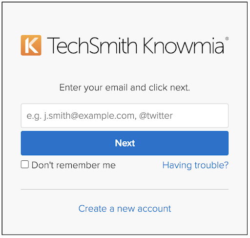 TechSmith Sign in