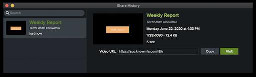 Mac Share History window