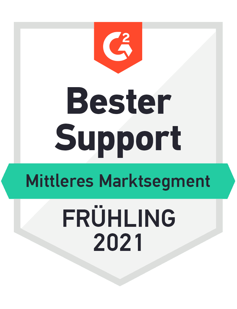 Award icon- Best support mid-market Spring 2021