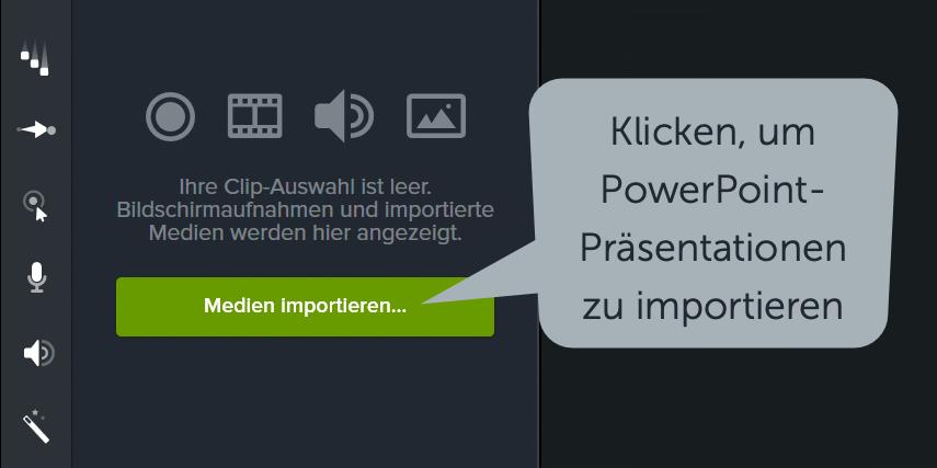 PowerPoint-Folien direkt in Camtasia importieren und schnell an Ihren gesprochenen Kommentar anpassen.