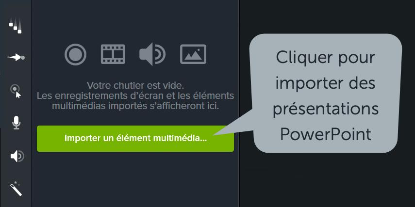 Cliquez sur le bouton Importer un élément multimédia et sélectionnez votre fichier PowerPoint.