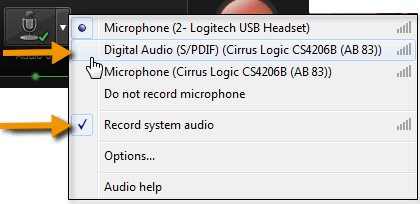 Audio dropdown menu