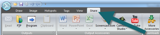 Share tab in the Snagit Editor