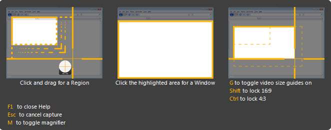 Image of the help window available when selecting an area to capture in Snagit(Windows)