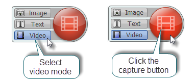 Image of Video Capture Mode and Capture buttons in Snagit (Windows)