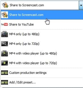 Share to Screencast.com option highlighted in the production wizard dropdown menu