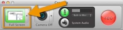 Camtasia for Mac Recorder with Screen button outlined.