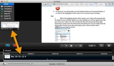 Camtasia Editor with recording shown in clip bin and on timeline.