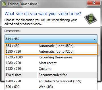 Editing dimensions dialog box