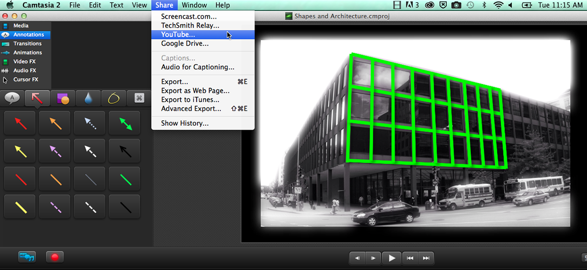 Camtasia sharing interface