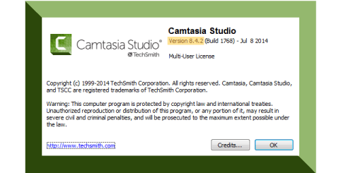 Camtasia Windows dialogue box