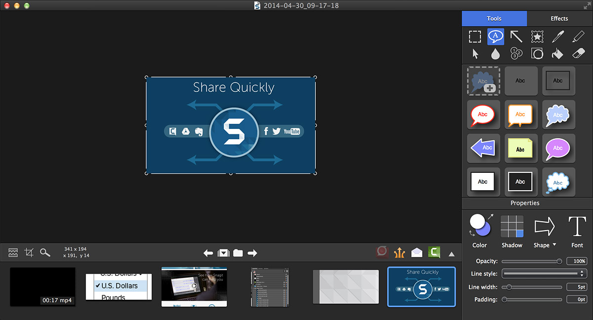The user interface of Snagit for Mac 3 is shown.