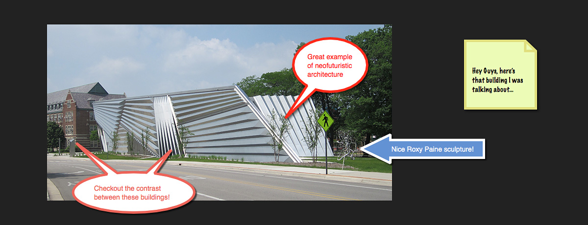 A photo of a building is marked up using Snagit's annotation tools