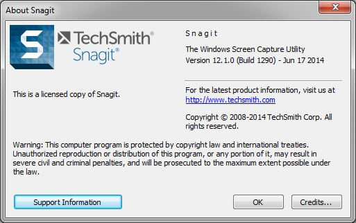 About Snagit dialogue box